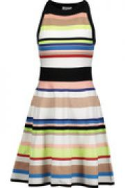 Striped stretch-knit mini dress at The Outnet