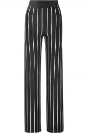 Striped stretch-knit wide-leg pants at The Outnet