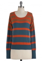 Striped sweater in similar colors at Modcloth