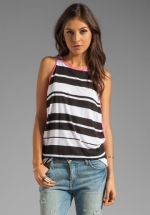 Striped tank top with pink trim at Revolve