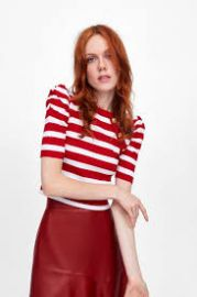 Striped top with balloon sleeves at Zara