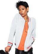Striped varsity jacket at Macys at Macys