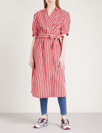 Striped woven wrap dress at Selfridges