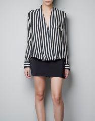 Striped wrap blouse at Zara