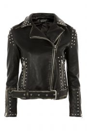 Studded Biker Jacket at Topshop