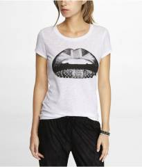 Studded Brit Lips Tee at Express