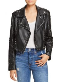Studded Cropped Faux Leather Moto Jacket  at Bloomingdales