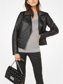 Studded Faux-Leather Jacket by Michael Michael Kors at Michael Kors