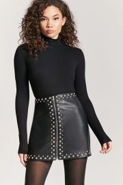 Studded Faux Leather Mini Skirt at Forever 21