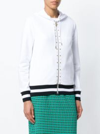Studded Stripe Detail Zipped Hoodie by Versace at Farfetch