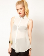 Studded collar blouse at Asos