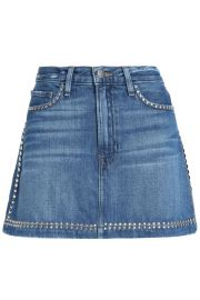 Studded faded denim mini skirt at The Outnet