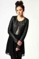 Studded leather style jacket at Boohoo at Boohoo