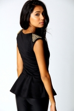 Studded peplum top at Boohoo