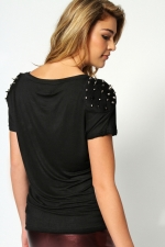 Studded shoulder tee at Boohoo