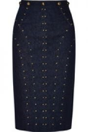Studded stretch-denim skirt at The Outnet