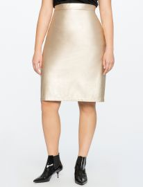 Studio Metallic Faux Leather Pencil Skirt by Eloquii at Eloquii