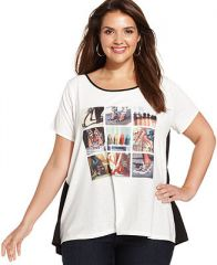 Styleandco Plus Size Shoe-Print Cheetah-Back Tee - Tops - Plus Sizes - Macys at Macys