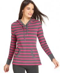 Styleandco Sport Striped Thermal Hoodie - Tops - Women - Macys at Macys