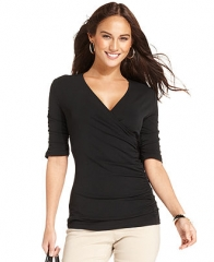 Styleandco Top Three-Quarter-Sleeve Surplice-Neck Ruched - black at Macys