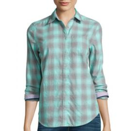 Stylus Long Sleeve Brushed Twill Plaid Shirt at JC Penney