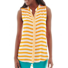 Stylus Sleeveless Striped Button Front Shirt at JC Penney