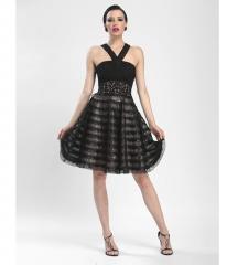 Sue Wong Black Rose Striped Empire Waist Dress at Unique Vintage