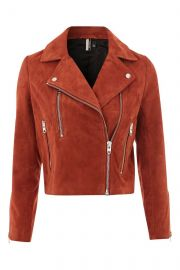 Suede Biker Jacket at Topshop
