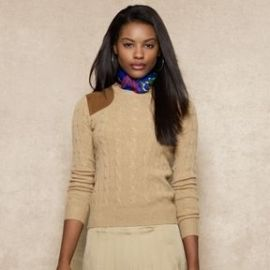 Suede Patch Cabled Sweater at Ralph Lauren