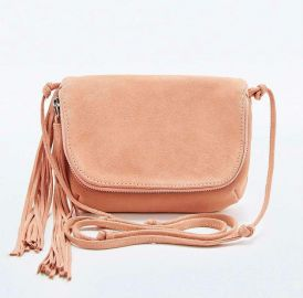 Suede tassel crossbody bag at Urban Outfitters