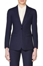 Suistudio Navy Cameron Single Breasted Wool Jacket at Nordstrom