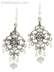 Sultry Black Diamond Crystal Chandelier Earrings  at Arte Designs
