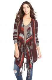 Sun and Shadow Intarsia Stripe Blanket Cardigan in Red at Nordstrom
