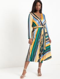 Sunburst Pleated Midi Dress at Eloquii