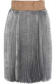 Sunburst buckle-waist metallic pleated skirt at The Outnet