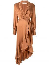Super Eight ruffle satin wrap dress at farfetch