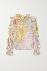 Super Eight ruffled floral-print cotton and silk-blend voile top at Net A Porter
