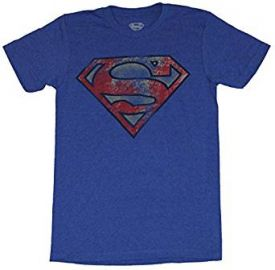 Superman  DC Comics  Mens T-Shirt - Heavily Distressed Red Yellow Blue Logo at Amazon