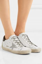Superstar distressed leather sneakers at Net A Porter