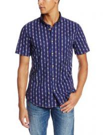 Surfside Supply Company Menand39s Short Sleeve Dobby Print Shirt Dark Blue X-Large at Amazon