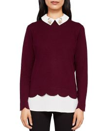 Suzaine Embellished Layered-Look Sweater at Bloomingdales
