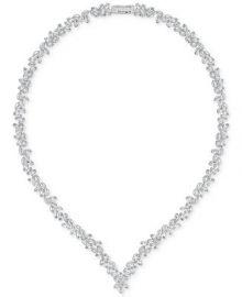 Swarovski 16  Silver-Tone Marquise Crystal V-Necklace at Macys