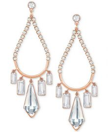 Swarovski Rose Gold-Tone Crystal Chandelier Earrings at Macys