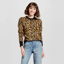 Sweater: Jacquard Crew Neck Sweater Leopard Print by Target at Target