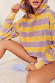 Sweater: Out From Under Striped Cropped Hoodie Sweatshirt by Urban Outfitters at Urban Outfitters