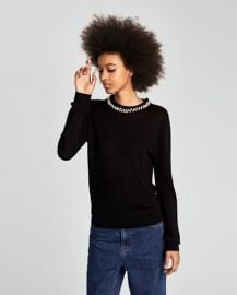 Sweater with faux pearl collar at Zara