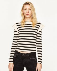 Sweater with shoulder frill at Zara