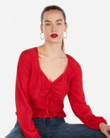 Sweetheart Shirred Keyhole Peplum Top at Express