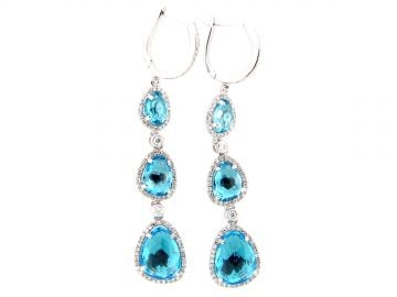 Swiss Blue Topaz & Diamond Drop Earrin at Dilamani