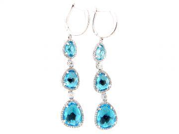 Swiss Blue Topaz  Diamond Drop Earring by Dilamani at Dilamani